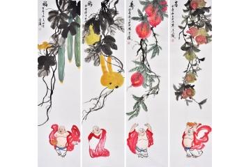 张金凤国画写意花鸟画四条屏作品《福禄寿喜图》