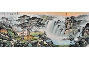 迎客松 一级美术师蒋伟山水画作品《松泉飞瀑》