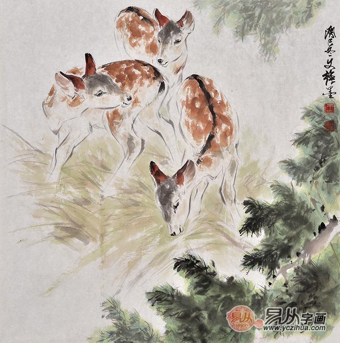 着名画家王文强动物画作品鹿《长寿图》