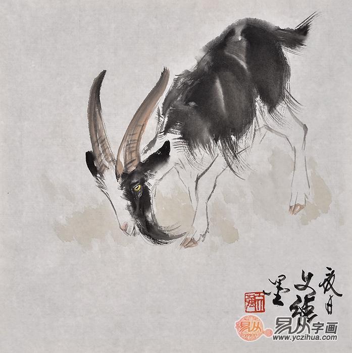 王文强动物画作品十二生肖之《羊》