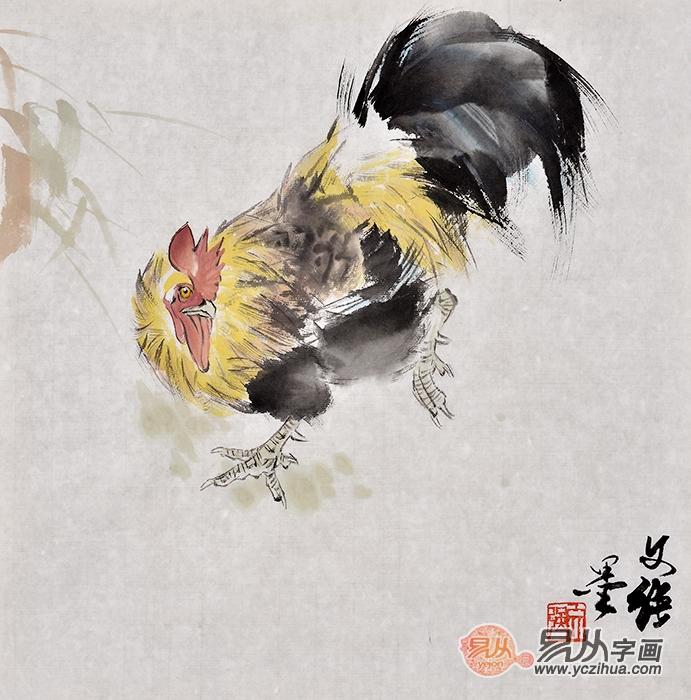 王文强动物画作品十二生肖之《鸡》