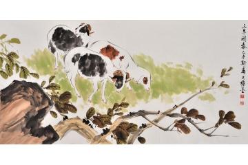客厅沙发背景墙挂画 国画大师王文强动物画作品