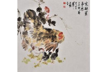 王文強四尺斗方動物畫作品雄雞《家和萬事興》