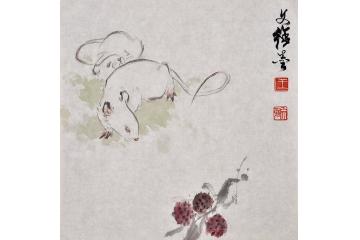 王文强动物画作品十二生肖之《鼠》