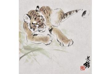 王文强动物画作品十二生肖之《虎》