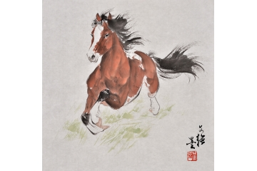 王文强动物画作品十二生肖之《马》