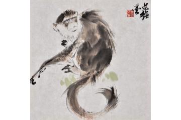 王文强动物画作品十二生肖之《猴》