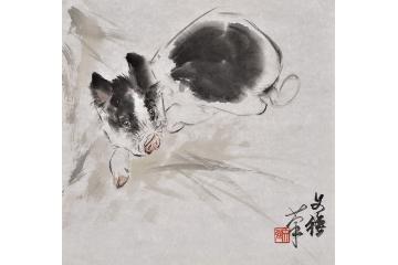 王文强动物画作品十二生肖之《猪》