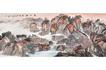 国画山水画 易天也写意画作品《江山胜境图》