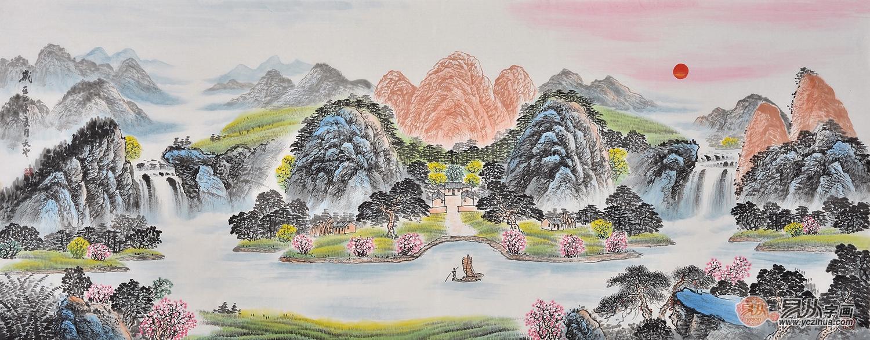 客厅挂画必备 国画家易天也山水画作品《招财聚宝盆》