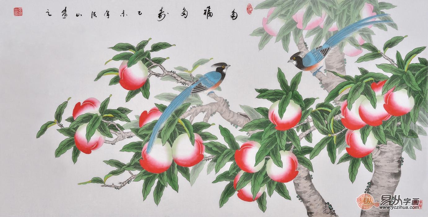 工笔画名家张洪山花鸟画作品《多福多寿》