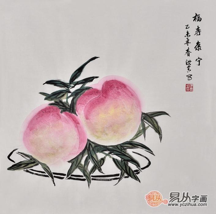 室装饰画 仇谷工笔画作品喜鹊寿桃《福寿绵长》作品来源:易从网-