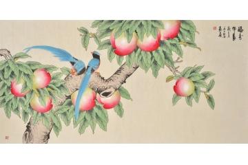 祝寿寿桃国画易从网工笔画-国画 360 240