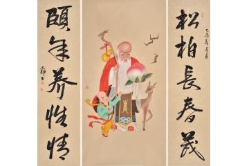 福禄寿 著名画家何文铮工笔人物画作品老寿星中堂画