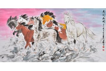 王文强写意动物画作品《马到成功》