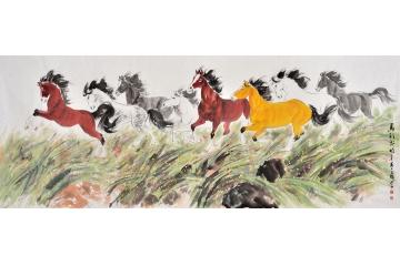 国画八骏图 王文强八尺横幅动物画作品《前程无限》
