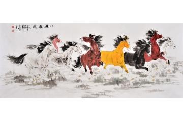 动物画八骏图 著名画家王文强国画作品《八骏雄风》