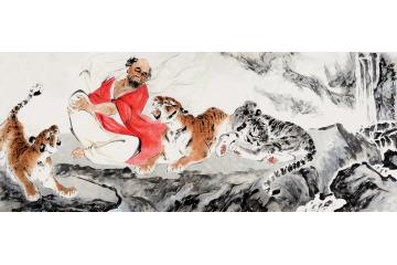 羅漢說法圖 著名國畫家王文強寫意人物畫作品