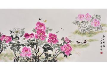 国画牡丹 刘海青花鸟画作品写意牡丹《春风得意》