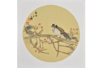 花鳥小品《秋佳》 何文錚小尺寸花鳥畫作品