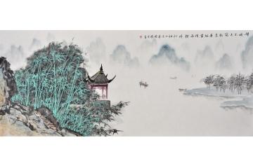 李國勝山水畫作品《嬋娟不失筠粉態  蕭颯盡得風煙情》