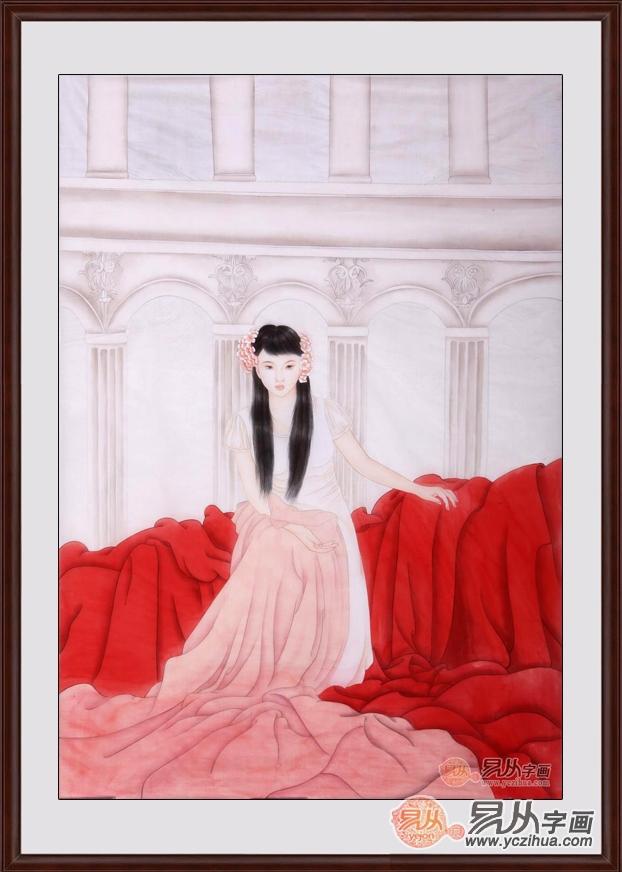 三尺豎幅絹本仕女畫作品《絹本仕女系列之三》