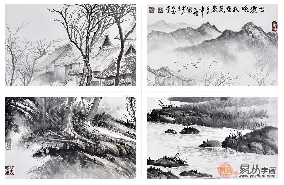 品当代画家吴大恺《古寨晚秋》,演绎近代名家山水画的变迁史
