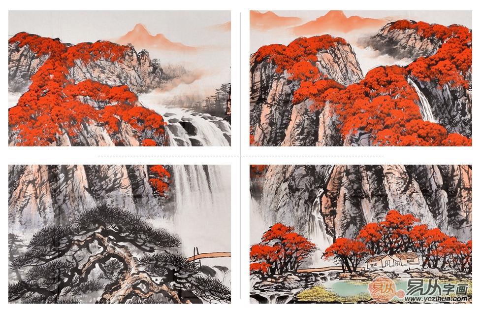 著名画家蒋伟国画山水画作品《鸿运当头》