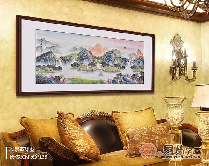 易天也山水画作品聚宝盆《聚祥纳瑞图》客厅装饰画效果图