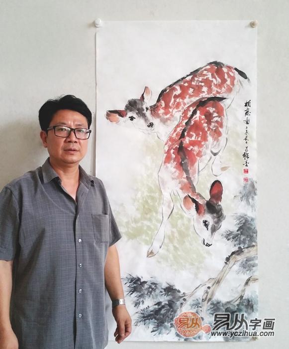 柏成家教网_名人字画 国画家王文强写意动物画作品《柏鹿图》 -【易从网 ...