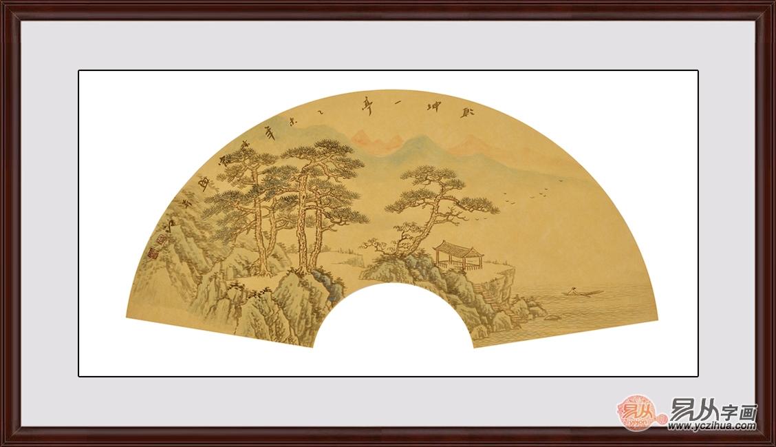 一把扇子的风情万种:中国风古典扇形山水挂画