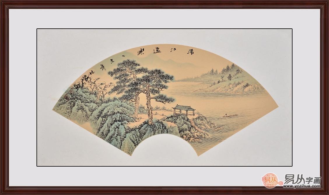 简单国画山水图扇形-一把扇子的风情万种 中国风古典扇形山水挂画图片