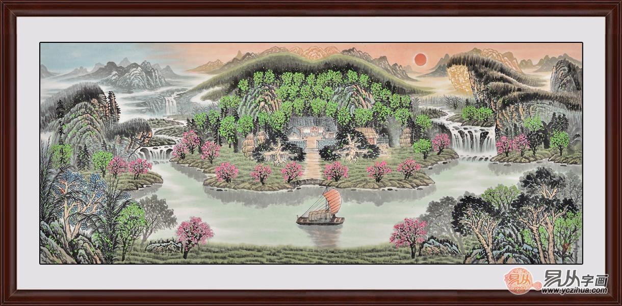 易天也寫意山水畫作品《旭日東升祥云起》,客廳掛畫