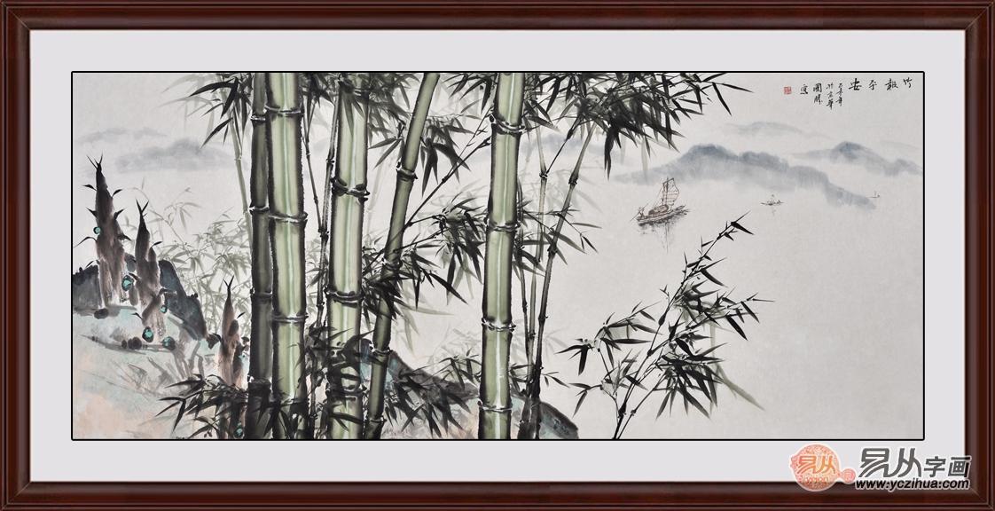 国画竹石图 李国胜山水画作品《竹报平安》