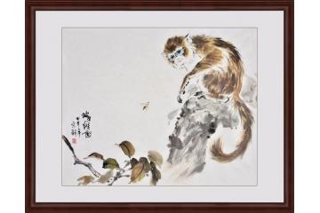 宋朝四尺斗方动物画作品猴子《蜂猴图》-【易从网】