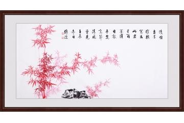 李传波四尺横幅书法作品《郑板桥 • 竹石》装裱图