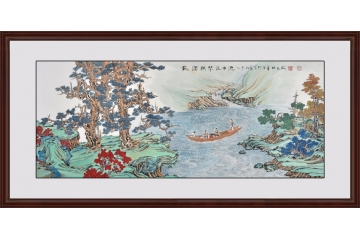 工笔山水画 国画家张天成作品《载酒抚琴泛中流》图片