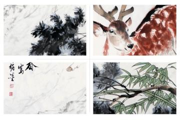 大厅挂画 国画家王文强动物画柏鹿图作品《柏鹿同春》