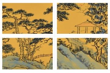 山水画扇面《秋江访友》细节展示图