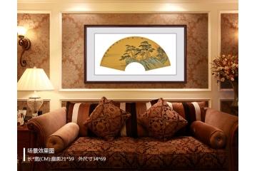 山水画扇面《秋江访友》卧室装饰画效果图