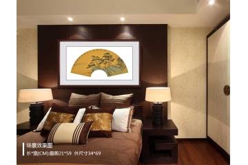 山水画扇面《秋江访友》卧室挂画效果图