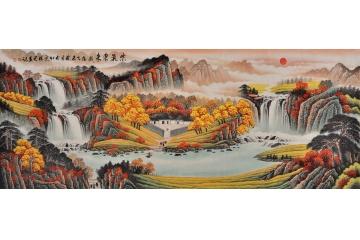 招财聚宝盆 国画家李林宏山水画作品《紫气东来》