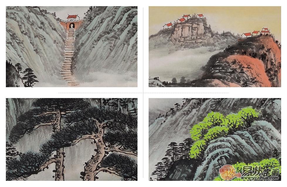 泰山题材国画 李林宏写意山水画作品《泰山日出》