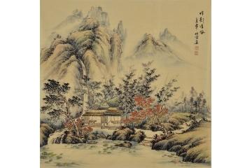 宋元风格山水画 李林宏写意国画作品《竹影清风》
