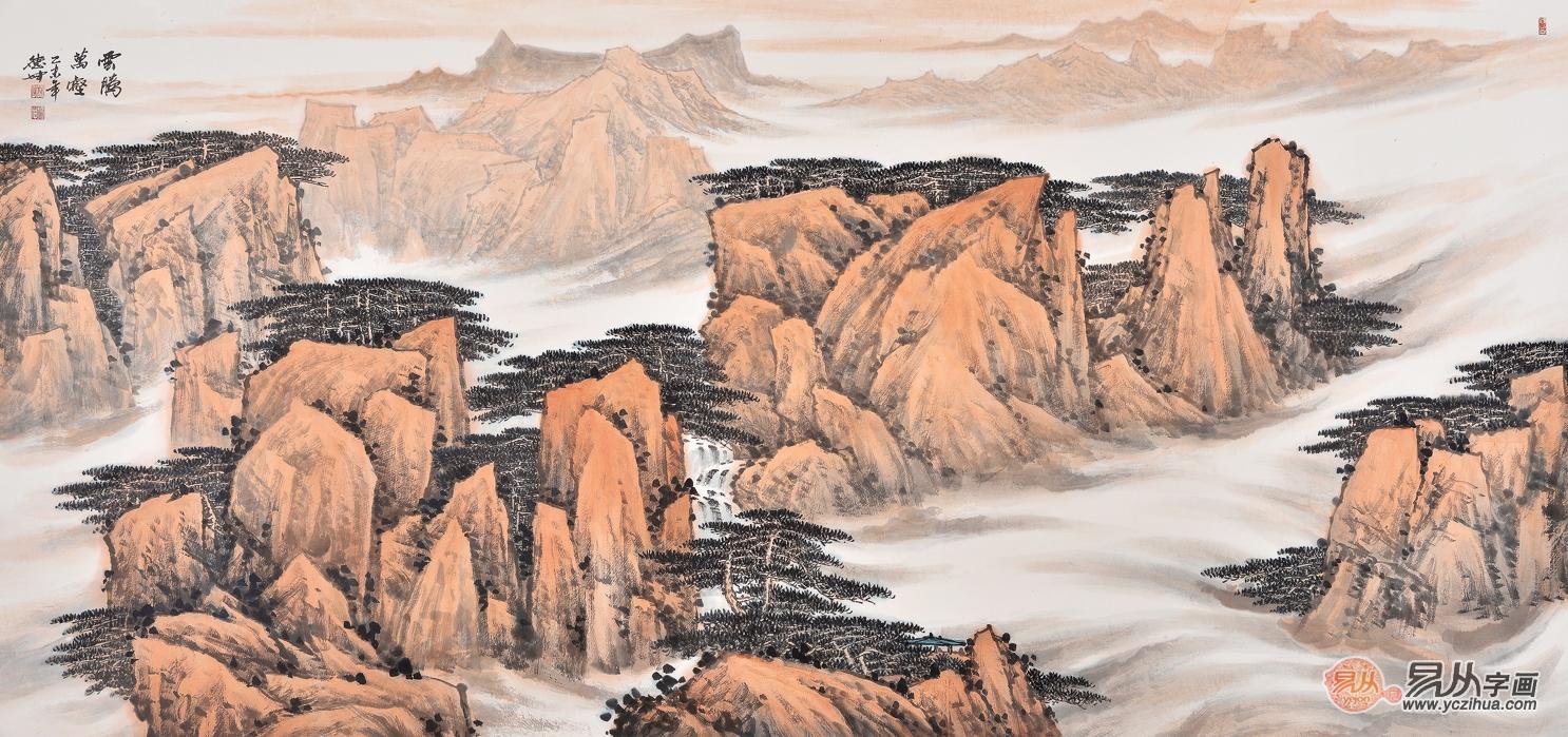 明清历史山水格局手绘