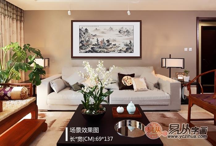 沙发背景墙装饰画效果图?山水画客厅装饰之精品