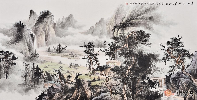 原创国画作品 王宁写意山水画作品《春回大地景如画》图片