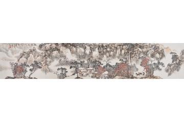 当代著名画家段孟斗国画山水画作品《秋染太行》