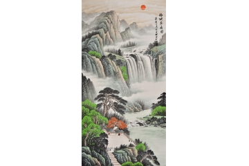 李林宏写意山水画作品《福地安居图》玄关走廊装饰画