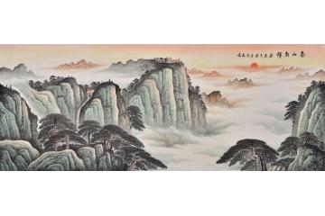 国画泰山图 易天也山水画作品《泰山朝晖》 靠山稳重 .